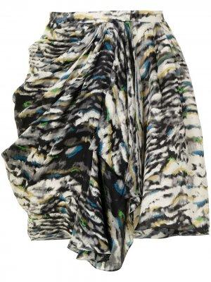 Юбка со сборками и абстрактным принтом Balenciaga Pre-Owned. Цвет: коричневый