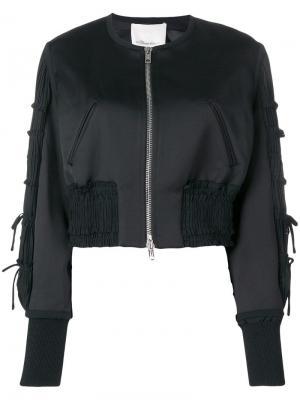 Укороченная куртка-бомбер 3.1 Phillip Lim. Цвет: черный