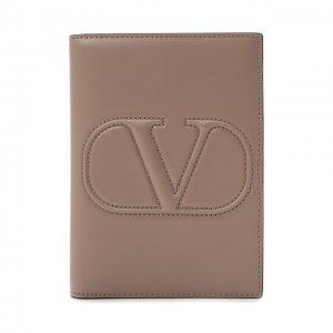 Кожаная обложка для паспорта Garavani Valentino. Цвет: бежевый