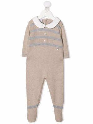 Striped long-sleeve knit babygrow Paz Rodriguez. Цвет: нейтральные цвета