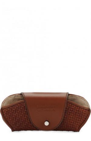 Кожаный футляр для очков Ermenegildo Zegna. Цвет: бежевый
