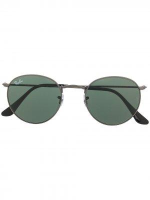 Солнцезащитные очки в круглой оправе Ray-Ban. Цвет: зеленый