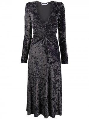 Бархатное платье с V-образным вырезом ROTATE. Цвет: серый