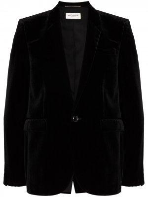 Бархатный однобортный пиджак Saint Laurent. Цвет: черный