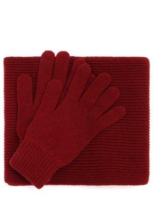 Комплект перчатки и шарф Johnstons. Цвет: бордовый