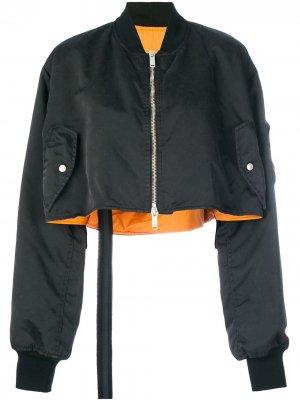 Укороченная куртка-бомбер с вышитым черепом UNRAVEL PROJECT. Цвет: черный
