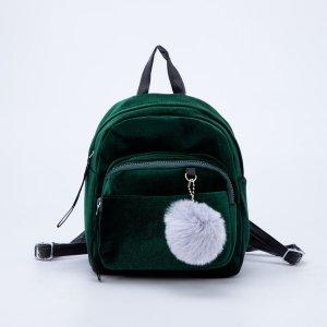 Рюкзак молодежный бархатный, 21х19х10 см, цвет зелёный NAZAMOK