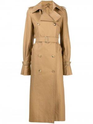 Двубортное пальто с поясом Max Mara. Цвет: нейтральные цвета