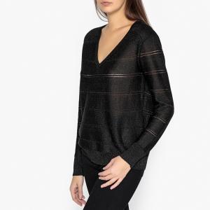 Пуловер с V-образным вырезом из ажурного трикотажа ALAIS BERENICE. Цвет: черный