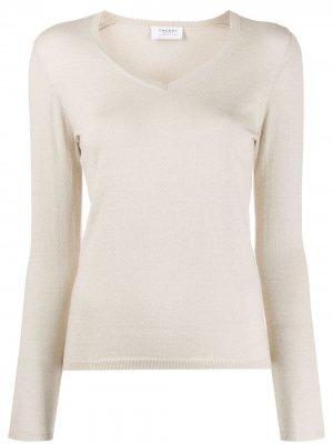 Пуловер в рубчик с V-образным вырезом Snobby Sheep. Цвет: нейтральные цвета