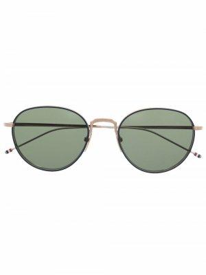 Солнцезащитные очки TB119 в круглой оправе Thom Browne Eyewear. Цвет: золотистый