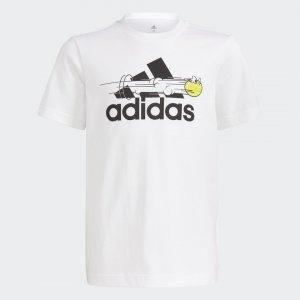 Теннисная футболка с принтом Performance adidas. Цвет: белый