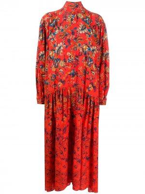 Длинное платье с цветочным принтом Givenchy. Цвет: красный