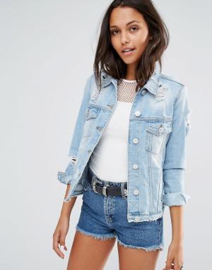 Джинсовая куртка в стиле вестерн River Island. Цвет: синий