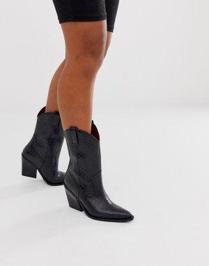 Черные кожаные полусапожки в стиле вестерн с тиснением под кожу питона -Черный Bronx