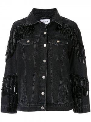 Джинсовая куртка с бахромой из бусин Dalood. Цвет: черный