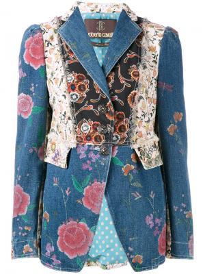 Джинсовая куртка с цветочными нашивками Roberto Cavalli. Цвет: синий