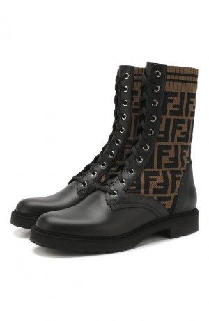 Кожаные ботинки Fendi. Цвет: черный