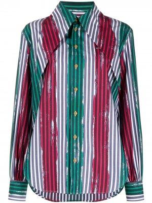 Рубашка в тонкую полоску с объемным воротником Vivienne Westwood. Цвет: зеленый