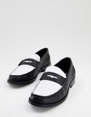 Черно-белые кожаные лоферы с черной подошвой -Черный цвет ASOS DESIGN
