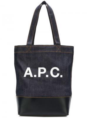 Сумка-тоут с логотипом A.P.C.. Цвет: синий