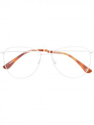 Солнцезащитные очки-авиаторы Etnia Barcelona. Цвет: серебристый