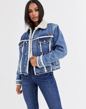 Джинсовая куртка на мягкой подкладке с нашивками -Синий Diesel