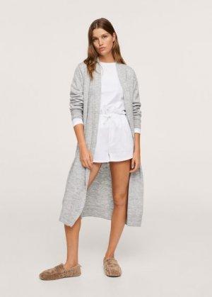 Трикотажный халат с поясом - Lara-i Mango. Цвет: серый
