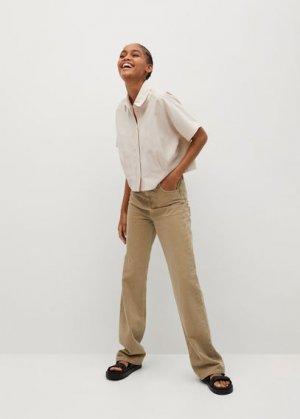 Укороченная рубашка со складками - Louisa-h Mango. Цвет: бежевый