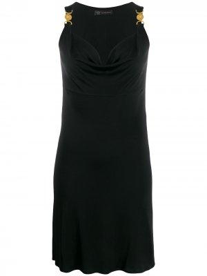 Короткое платье с декором Medusa Versace. Цвет: черный