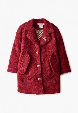 Пальто TrendyAngel Baby с брошью. Цвет: бордовый