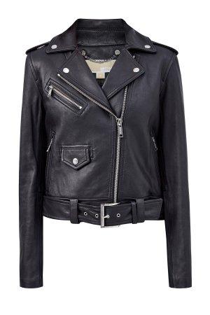 Кожаная куртка в байкерском стиле MICHAEL Kors. Цвет: черный