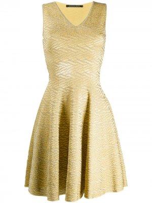Расклешенное платье из парчи Antonino Valenti. Цвет: желтый