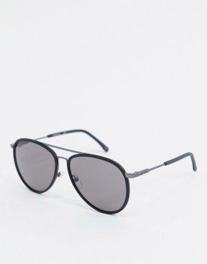 Круглые солнцезащитные очки с двойной переносицей Casual Elegance-Черный Lacoste