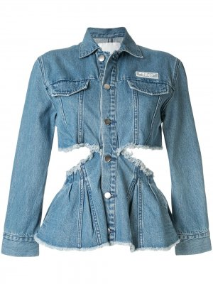 Джинсовая куртка с вырезными деталями Ground Zero. Цвет: синий
