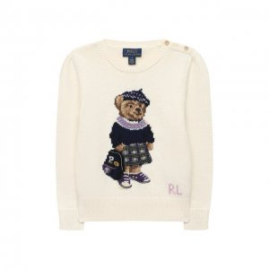 Хлопковый пуловер Polo Ralph Lauren. Цвет: белый