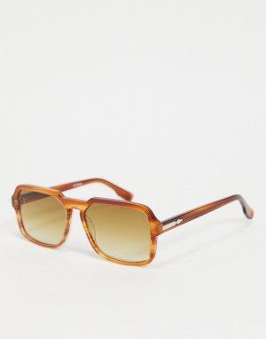Женские квадратные солнцезащитные очки с коричневой мраморной оправой Cut Twenty-Коричневый цвет Spitfire