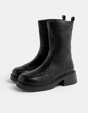 Черные ботинки челси на массивной подошве -Черный цвет Topshop