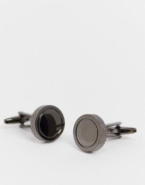 Круглые запонки цвета оружейного металла с фактурными краями Moss London-Серебристый BROS