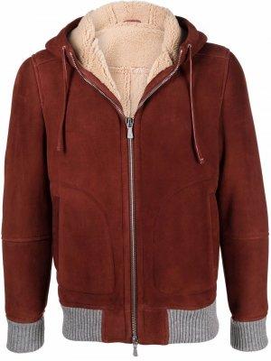 Куртка с капюшоном и контрастной отделкой Eleventy. Цвет: красный