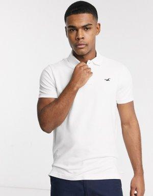 Поло белого цвета узкого кроя с логотипом -Белый Hollister