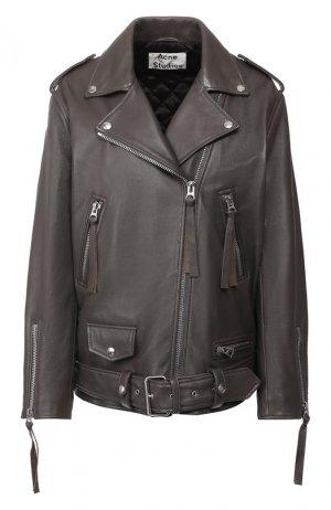 Кожаная куртка с поясом Acne Studios. Цвет: серый
