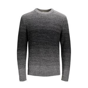 Пуловер с круглым вырезом, из тонкого трикотажа JACK & JONES. Цвет: синий морской,черный