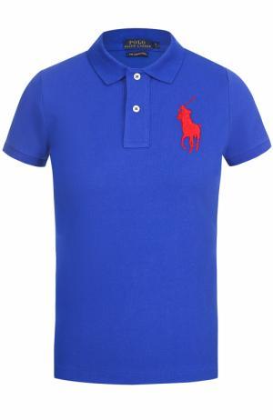 Поло с вышитым логотипом бренда Polo Ralph Lauren. Цвет: синий