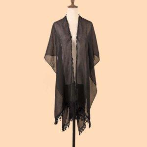 Однотонный платок-шаль SHEIN. Цвет: чёрный