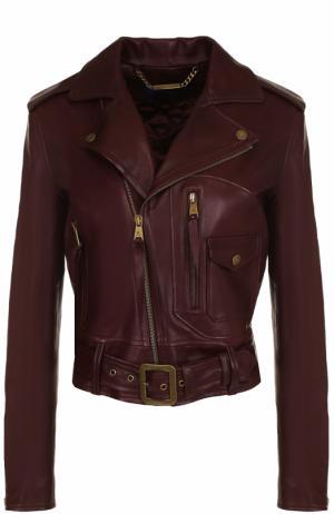 Укороченная кожаная куртка с косой молнией Ralph Lauren. Цвет: красный