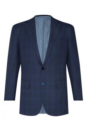 Серый костюм в клетку Stefano Ricci. Цвет: синий