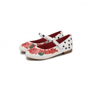 Кожаные балетки с застежкой велькро Dolce & Gabbana. Цвет: разноцветный