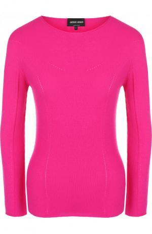 Однотонный пуловер из смеси шерсти и кашемира Giorgio Armani. Цвет: фуксия