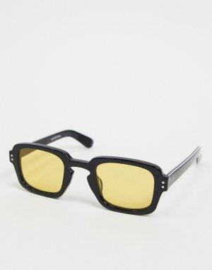 Солнцезащитные очки в черной квадратной оправе стиле 70-х с желтыми стеклами Cut Fifteen-Черный Spitfire